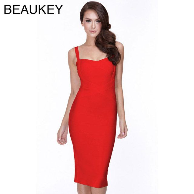 Red Rayon Sexy Women's Sexy  2016 Spaghetti Strap Rayon Midi Bodycon Bandage Dress