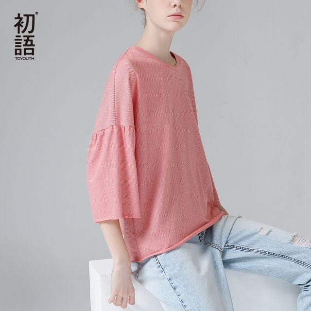 Toyouth 2017 Summer New Arrival Batwing Sleeve Stripe Loose O-Neck Three Quarter Casual Women Cotton Fashion T-Shirts