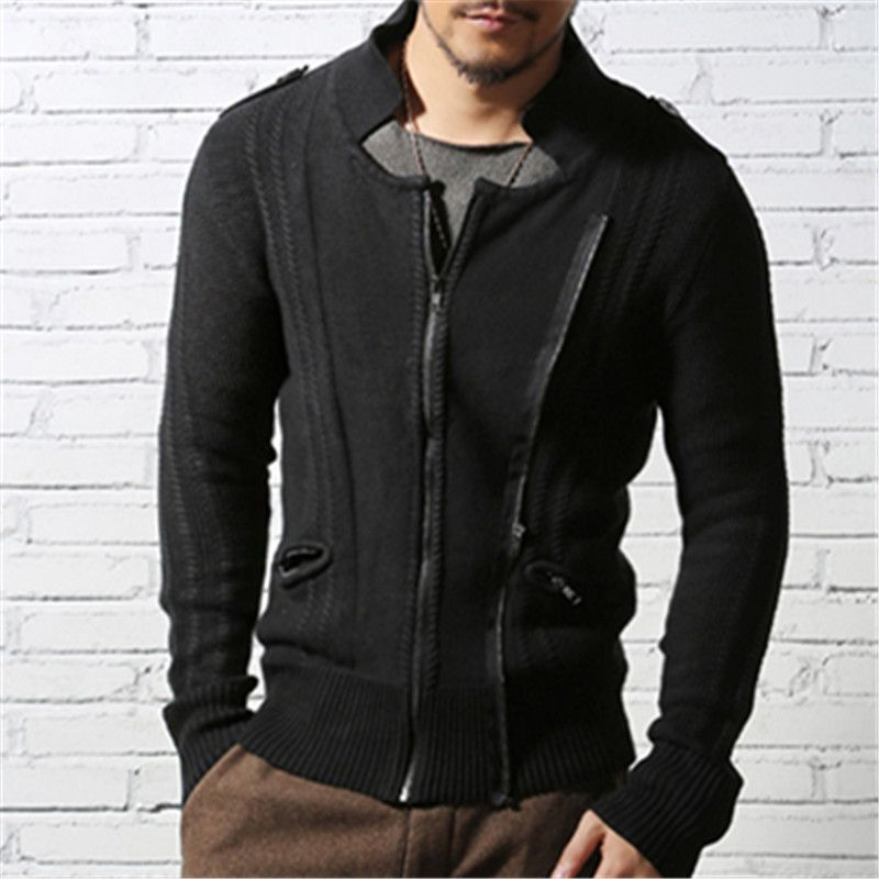 Men slim Casual Double zipper Knitwear coat autumn winter men's cardigan sweaters slim fit stand Collar Brand Motorcycle jacket