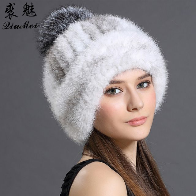 Women's Cap Hats Winter Knitted With Fox Fur Pompom Customized Luxury Thicken Hat For Women Casual Mink Fur Hats Beanie Female