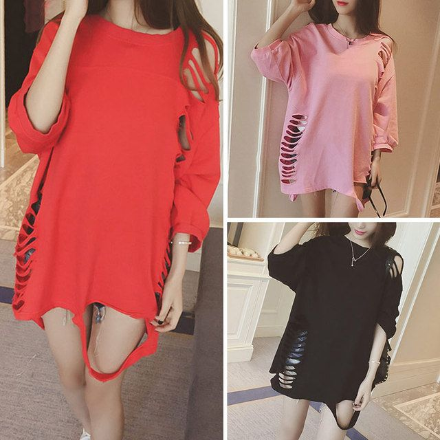 Vestido muje Women Summer 2017 Casual Loose Hollow Long T Shirt Female New Fashion O-Neck 3/4 Sleeve Cotton T-Shirt Women S20559