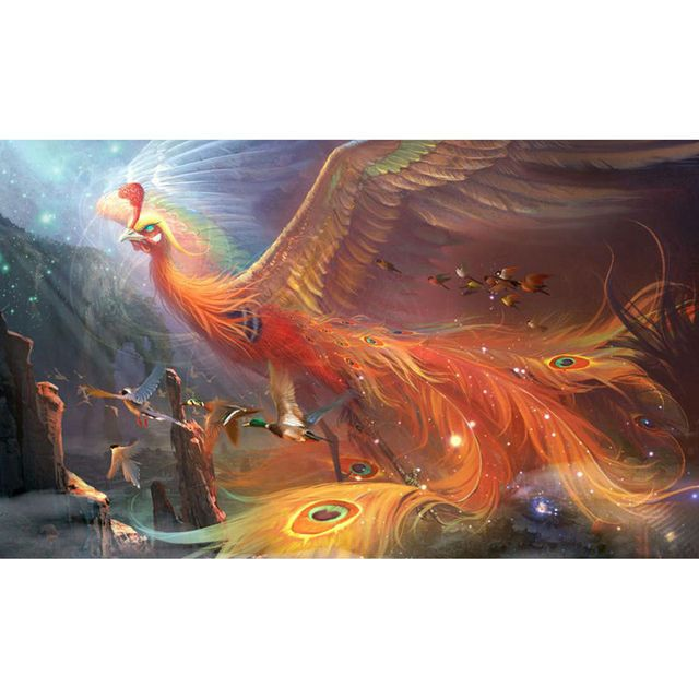 5d Diy Diamond Embroidery Fire Phoenix Full Square Drill Animal Series Firebird Diamond Painting Cross Stitch Big Bird Picture