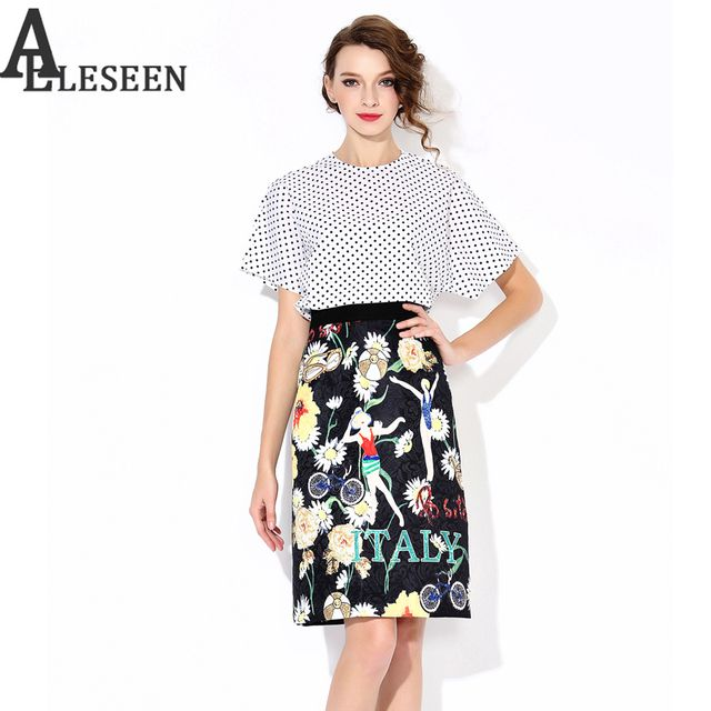 Casual Twinsets  2017 Spring - Summer New UK Style Dot Print White Tops + Chrysanthemum Latter Print Skirt Elegant Twinset
