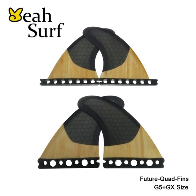 High Quality FCS/Future G5+GX Surfboard Fins Black Honeycomb/pure Bamboo Quad Fin Quilhas
