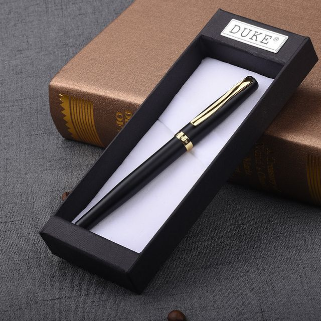 Luxury Gift Set Pen Duke 209 Matte Black and Gold Clip Fountain Pen with 0.5mm Nib High Quality Metal Ink Pens Free Shipping