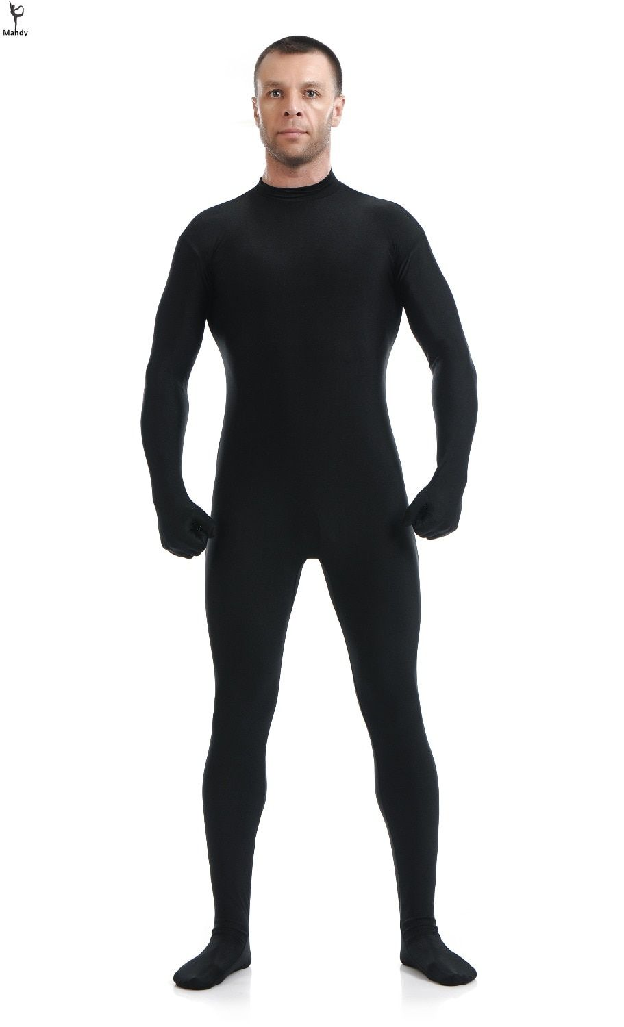Mandy Custom Second Skin Tight Suits Lycra Zentai Suit No Hood Black Mock Neck Spandex Unitard Mens Cosplay Full Body Bodysuits