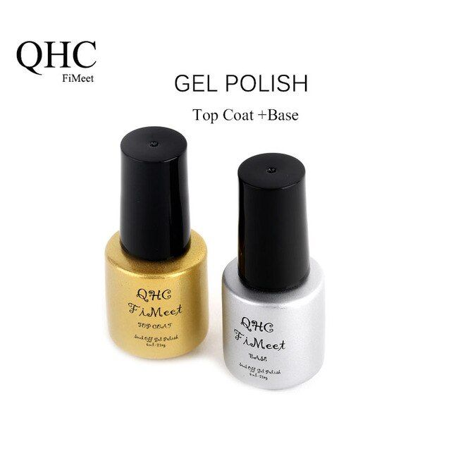 2016 Hot Sale QHC FiMeet  Top Coat + Base Coat Set UV Gel Nail Polish Foundation Set Long-Lasting Nail Gel Free Shipping