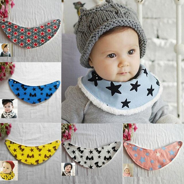 Winter Warm Infants Kids Baby Cartoon Pattern Baby Towel Saliva Waterproof Lunch Bibs 3M-4Y