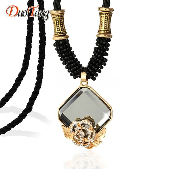 DuoTang High Quality Fashion Long Necklaces For Women Crystal Necklaces Classic Jewelry Rope Chain Pendant Necklace Jewellry