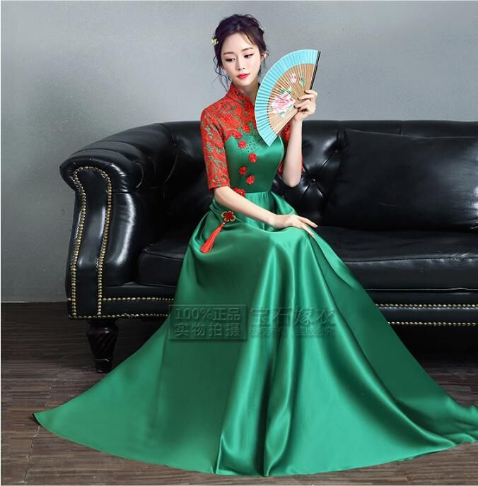 Chinese oriental dresses Perfect Quality Green chinese dress Lace Dress antique Uniform chinese 4 colors
