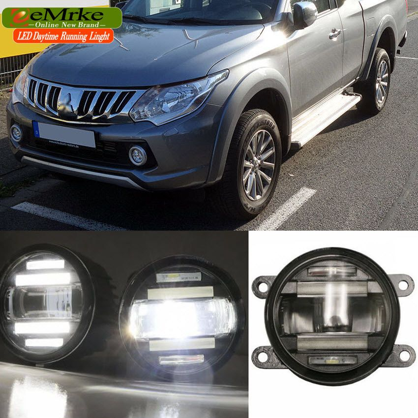 eeMrke Car Styling For Mitsubishi Triton 2015 - up in 1 LED Fog Light Lamp DRL With Lens Daytime Running Lights
