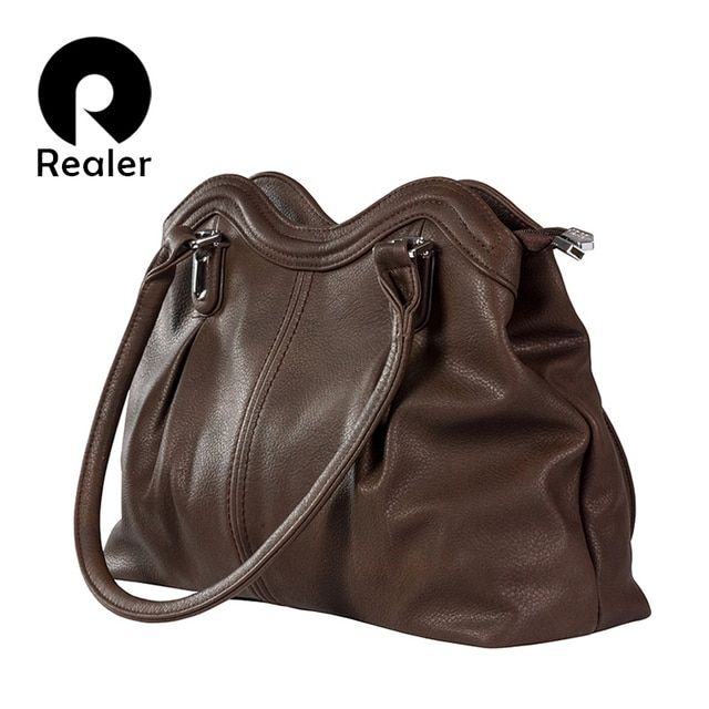 REALER brand new design handbag fashion women shoulder bag vintage russian style casual tote bag black top handle bags