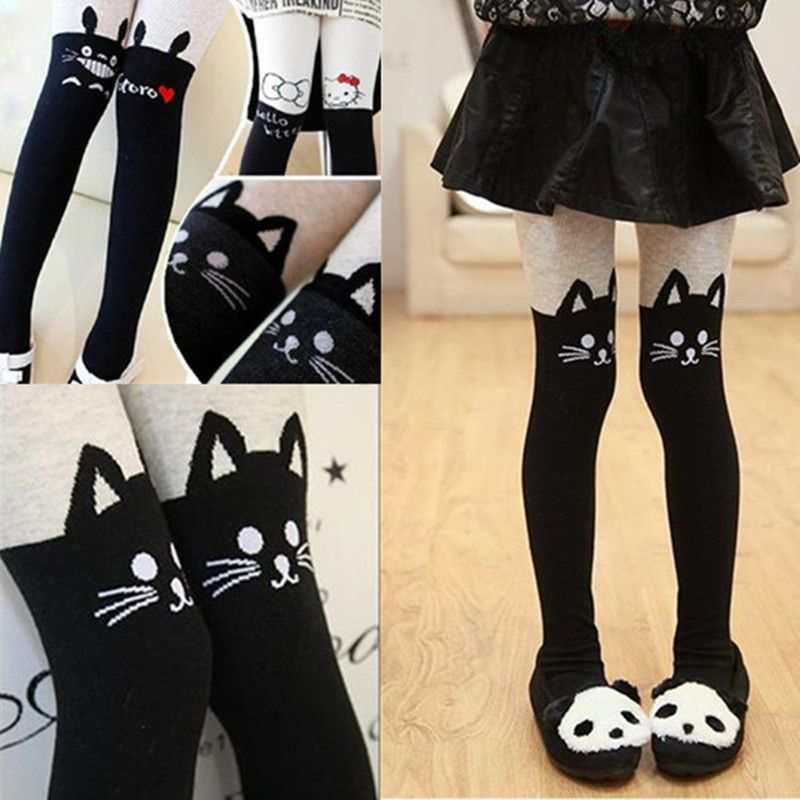 Girls Tights Autumn Winter Girls Splice Thick Stocking Devil Cat Cotton Knitted Stitching Kids Pantyhose Tights For Girls 1-10T