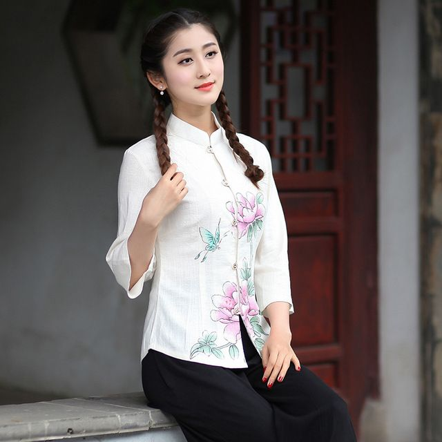 New Arrival Summer Chinese Style Mandarin Collar Women Tang Suit Tops Blouse Traditional Elegant Slim Shirt M L XL XXL XXXL T47