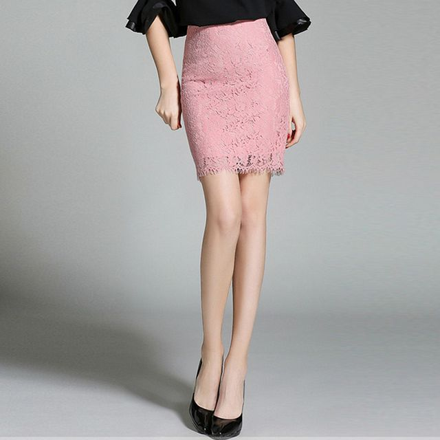 High Quality Women Pink Lace Mini Skirt  Hollow Out Sexy Skirt Knee Length Plus Size 2017 New Fashion Style