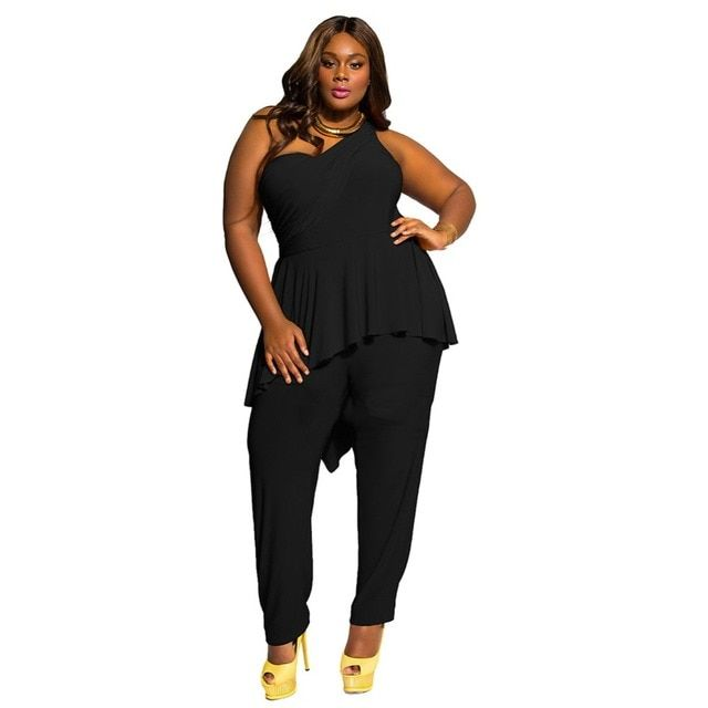Women Black One Shoulder Jumpsuit Plus Size 2016 Summer New Lady Sexy Backless Jumpsuits Long Pants Rompers One Piece Overalls