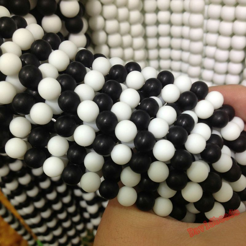 "5A Quality Black White Frost Dull Polish Matte Onyx Agat Round natural Stone Beads 16"" Strand 8 10 12MM For Jewelry Making"