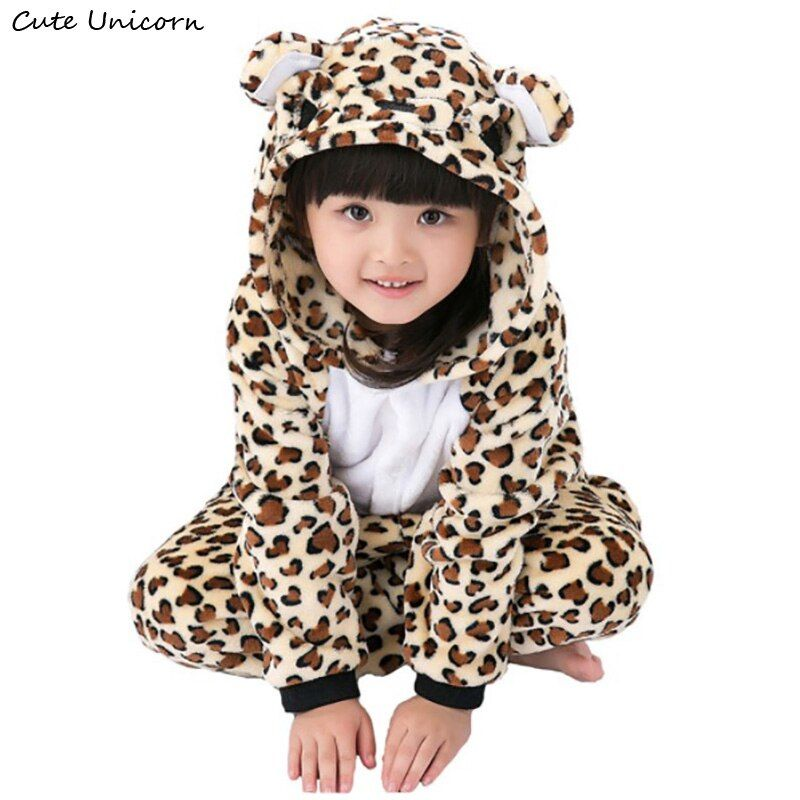 Children Clothing Leopard Bear Animal Pajamas Cosplay Costumes Unisex kids clothes Boys Girls Flannel Sleepwear Onesies Pyjama