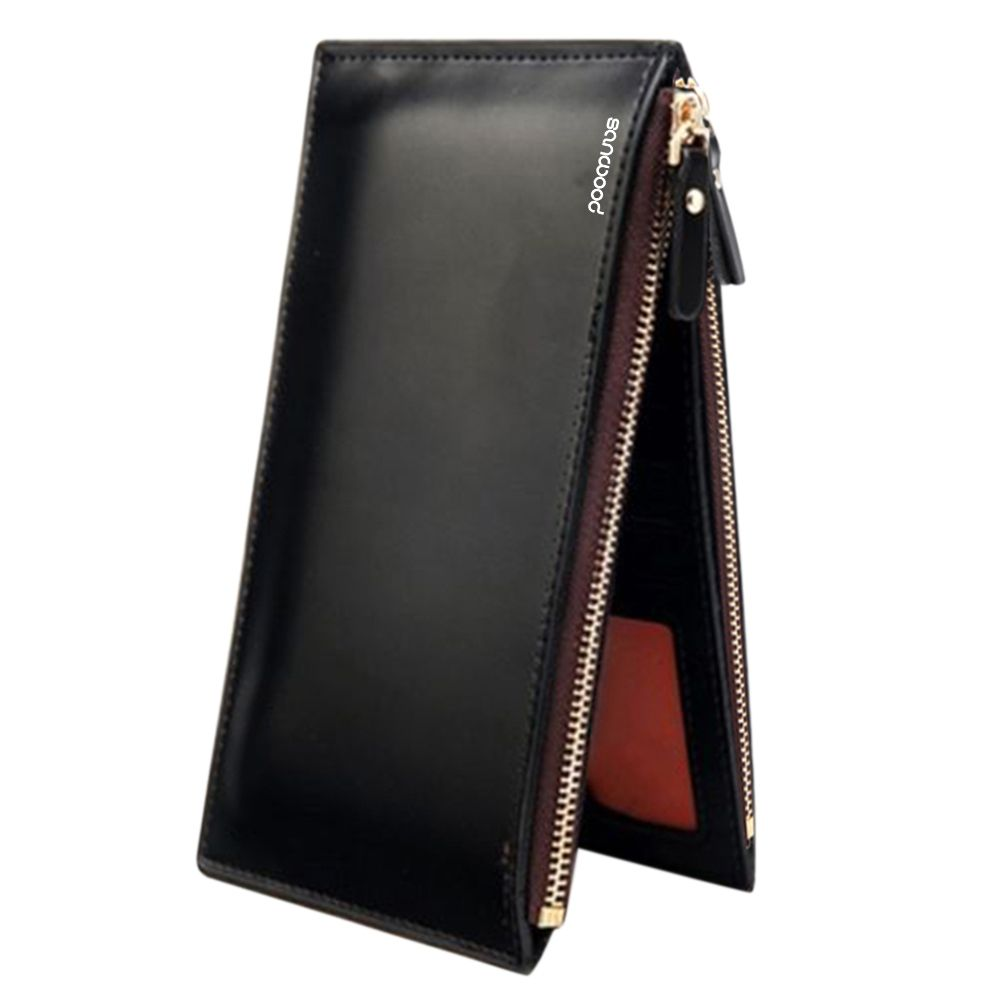 Wallet Men Fashion Zipper Id Credit Card Holder Bifold  Long Leather Wallet Men BVH3