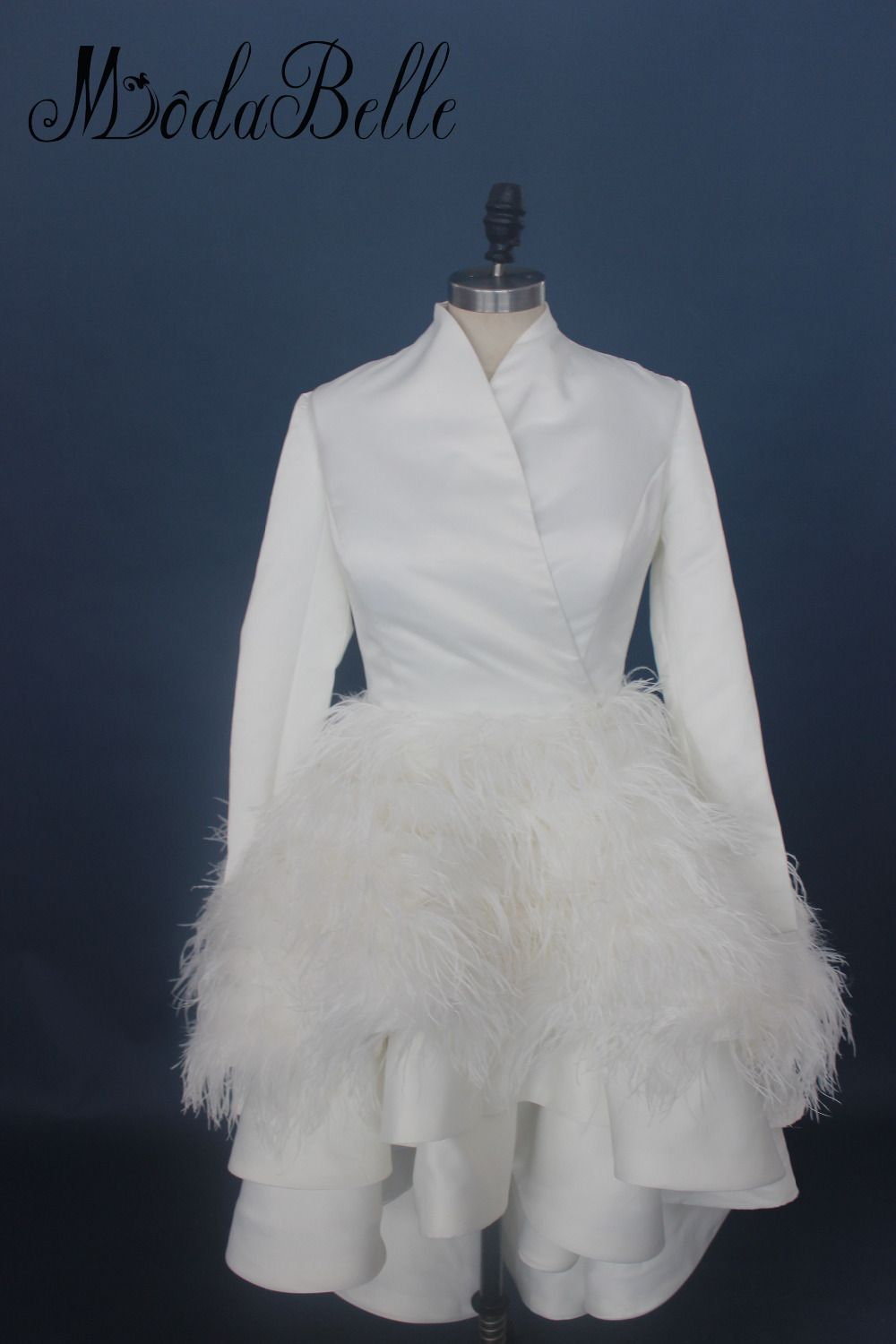 modabelle High Neck Low Long Sleeve Wedding Dress Short Front Long Back Ostrich Feather Dress Bride vestido noiva branco