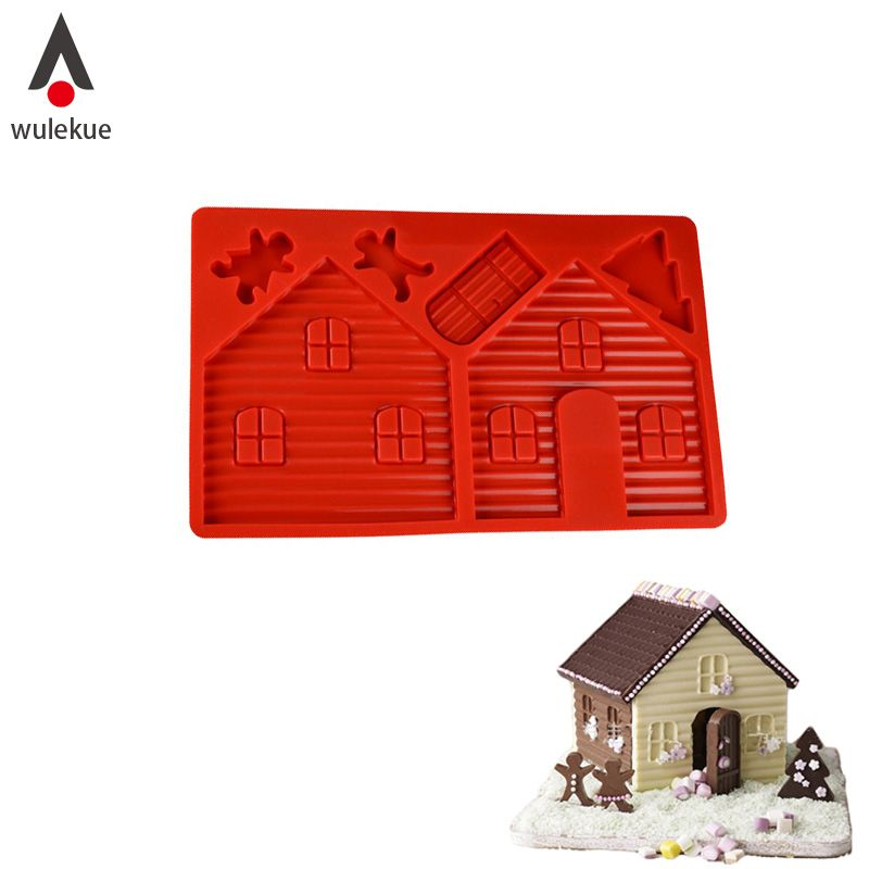 2PCS Silicone 3D Gingerbread and Chocolate House Mold For Christmas  Tree Decorating Lovely Couple Cookie Cake Bakeware Mould