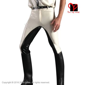 Sexy White Latex Pants with black trims Rubber Gummi Bottom leggings Trousers bottoms jeans plus size XXXL