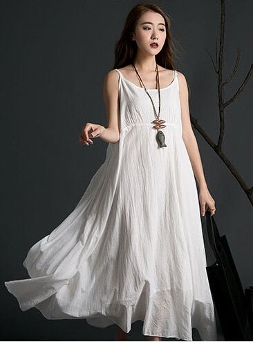New  summer women bohemian beach spaghetti strap long dresses sleeveless solid color irregular maxi dress for gril 85125
