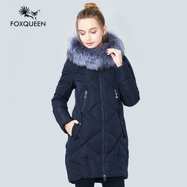 Foxqueen 2017 New Winter Women's Girl's Padded Slim Cotton Coat Warm Quilted Overcoat Fur Collar Silver Fox Free Shipping