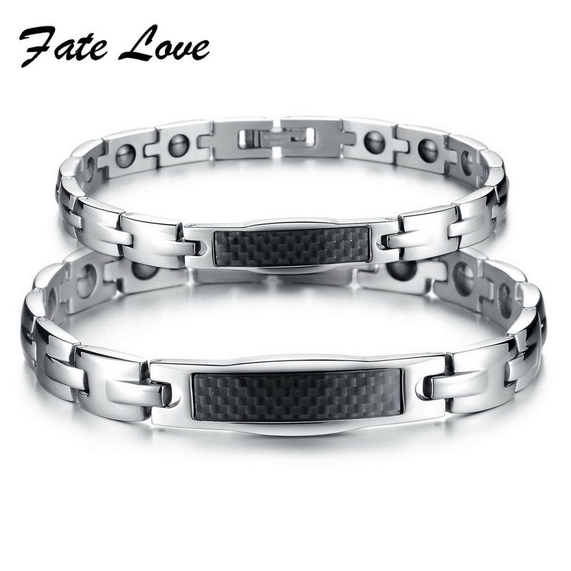 Fashion 316L Stainless Steel  Magnet Germanium Energy Bangle Bracelet with Magnetic & Crystal Stones for Couple