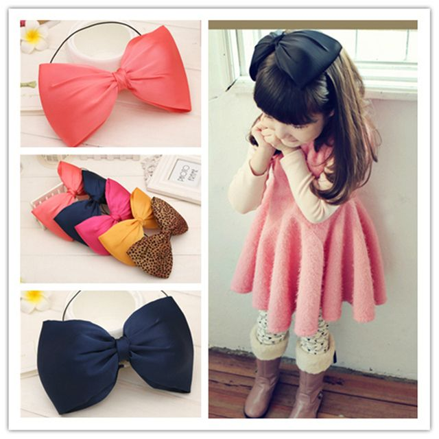 fashion spring kids infant child girls head wraps tiara silk elastic ribbon headband satin big bows headwrap hair bands Q-8