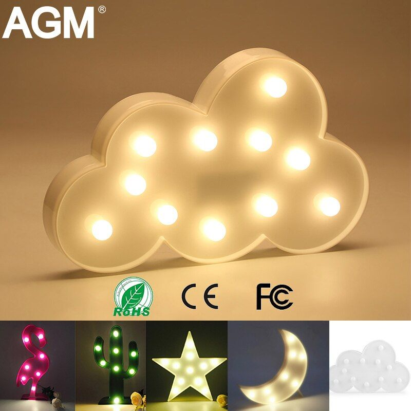 AGM LED Night Light Moon Cloud Light 3D Lamp Luminaria Flamingo Star Nightlight New Year Table Decoration Children Home Decor
