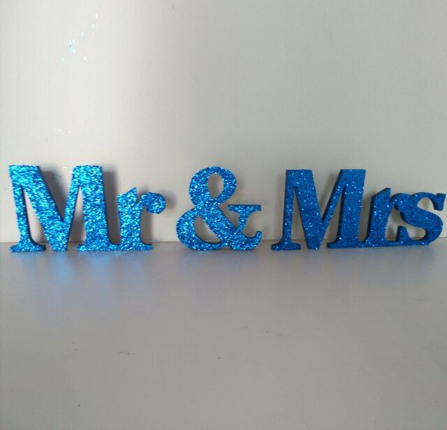 free shipping  Blue glitter signed by Mr. Ms. Wood PVC word wedding decorations I love big table