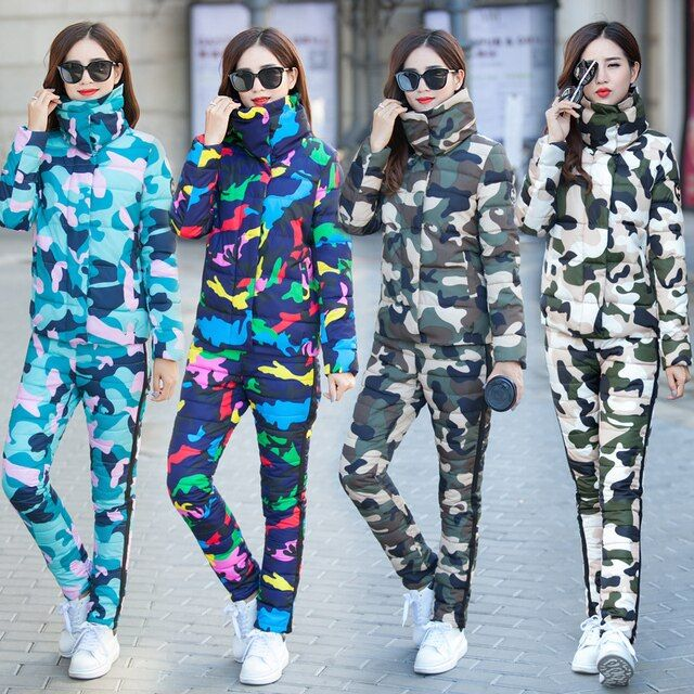 tracksuit for women 2017 women's winter camouflage down cotton-padded jacket +cotton down pants suit female Retro two-piece set