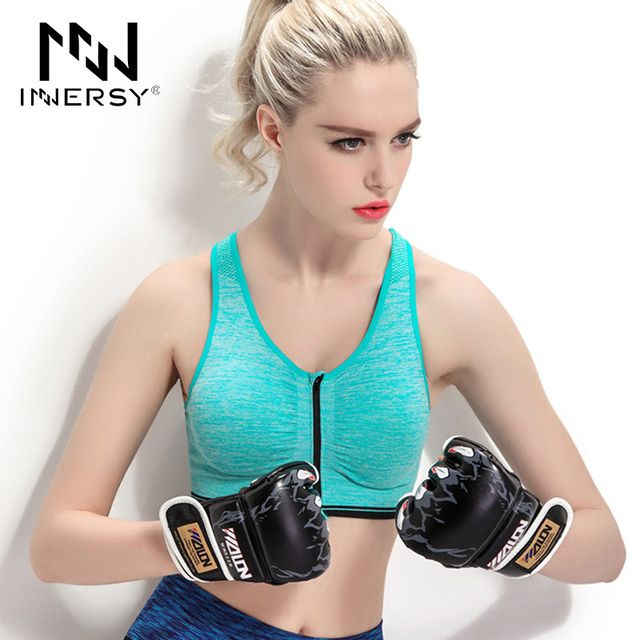Innersy Plus Size Women Sports Bra Zipper Front Padded Push Up Shockproof Wire free Tops Fitness  sujetador deportivo Jzh48
