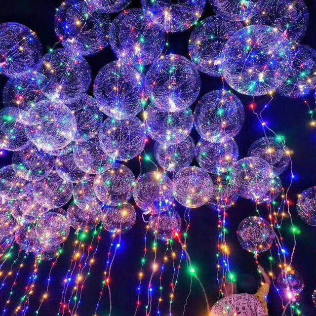 18/24 inch New Year Christmas Decoration Luminous Led Balloons Transparent Decoration Party Wedding Decorations Happy Birthday