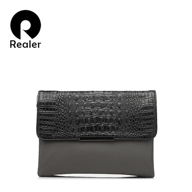 REALER brand fashion women day clutches bags purse handbag party evening envelope clutch crocodile pattern shoulder bag