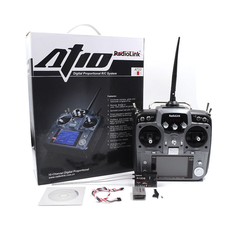 RadioLink AT10 II 2.4Ghz Transmitter with 10CH Remote Control System with R12DS Receiver for Helicopter  Quadcopter