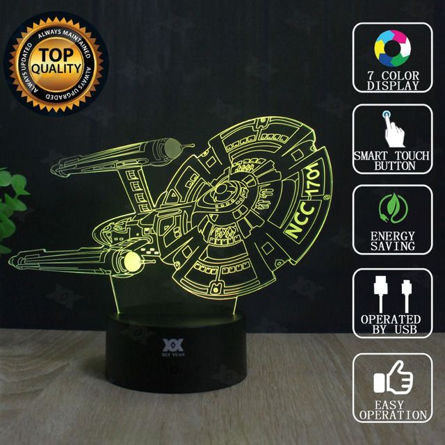 Star Wars Lamp Millennium Falcon Star Trek 3D Lamp LED Novelty Night Lights USB Light Glowing Children's Gift HUI YUAN Brand