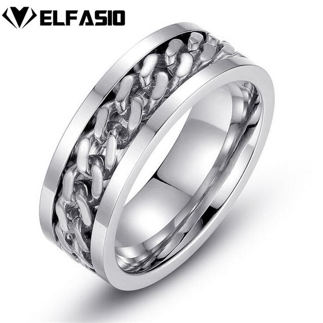 Men's Stainless Steel Ring Band Silver Gold Curb Chain Rotated Jewelry Size 7-15