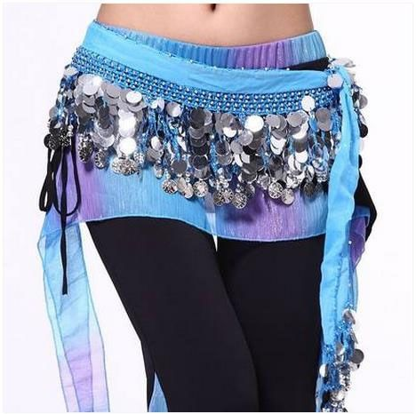 Belly dance costumes senior chiffon silver coins belly dance belts for women belly dancing hip scarf