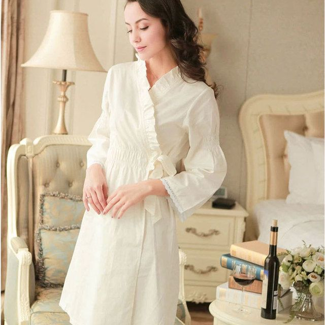 2017 Spring and autumn women's long-sleeve sleepwear bathrobes female lace 100% woven cotton nightgown elegant sweet nightgown