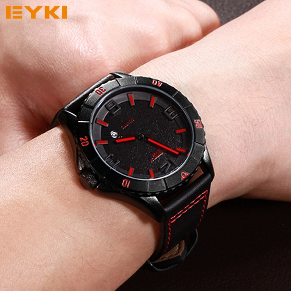 Top Brand Luxury EYKI Men's Waterproof Sports Quartz Wrist Watches for Male Electronic Wristwatches Clocks Gifts