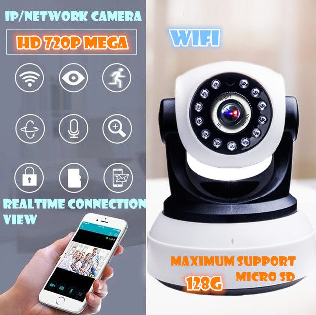 P2P IP Camera 720P HD Wifi Wireless Baby Monitor PT Security ONVIF Cloud Night Vision Micro SD Card pt  Mega  Two ways audio