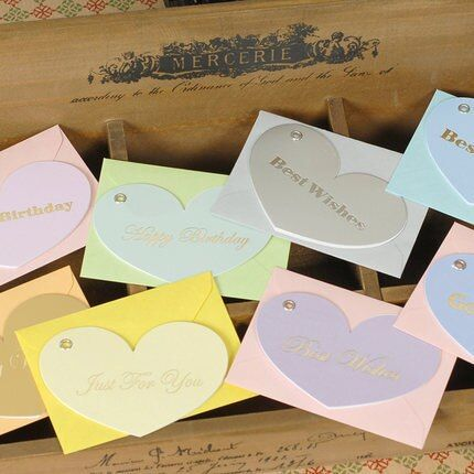 8pcs/lot New Heart Shape Message Card Gift Drop Blessing Birthday Festivals Universal Mini Greeting Cards School Supplies Wz
