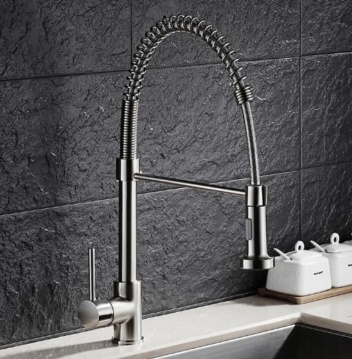 Free Shipping Luxury Nickel Pull Down Kitchen Faucet New Arrival Solid Brass Swivel Pull Out Spray Sink Mixer Tap Water tap