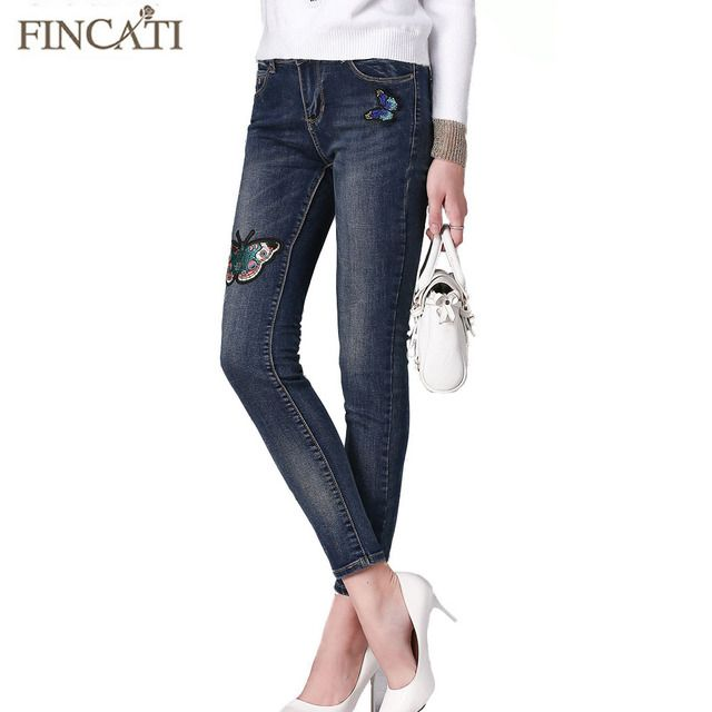 Runway Branded Autumn Mid Waist Pantalon Femme Trousers Denim Jeans Embroidered Stretch Elastic Skinny Women Pencil Pants