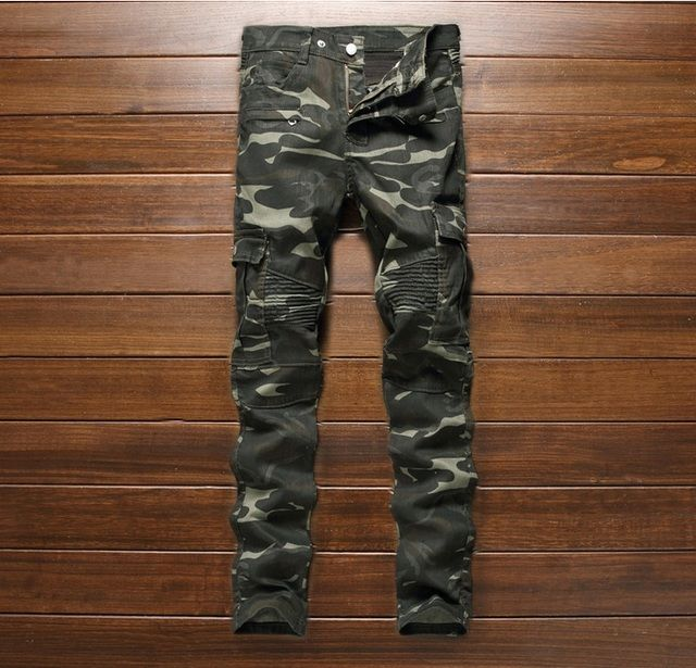 European American style Men's casual Pencil Pants Straight luxury brand camouflage trousers slim army green fashion pants men