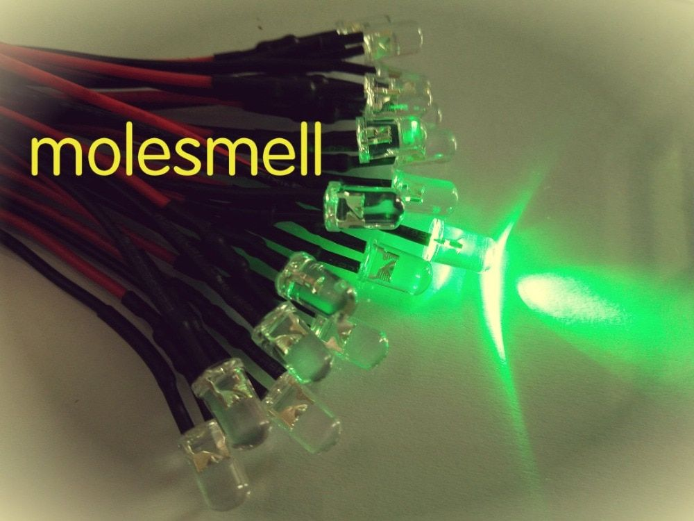 50pcs 5mm 24v Green Water clear round LED Lamp Light Set Pre-Wired 5mm 24V DC Wired green led