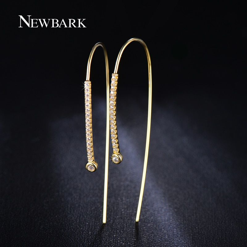 NEWBARK Newest Gold Color Crystal Earrings for Women Attractive Personalized 52mm Long Stud Earring Crooked 1pair Girl Gifts