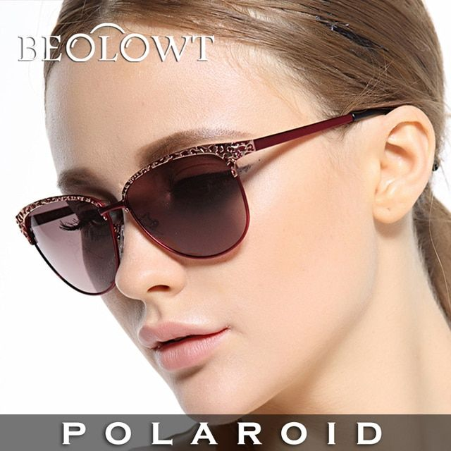 BEOLOWT brand  women's UV400 Polarized Sunglasses Driving Aluminum Magnesium Alloy Sun Glasses for women  with Case Box BL428
